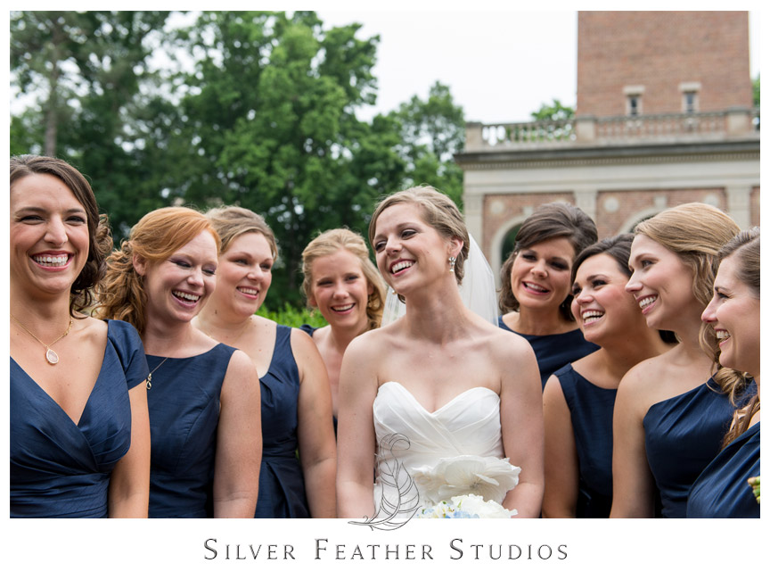 Bridesmaid in navy dresses at this Carolina Club Wedding.  © Silver Feather Studios, Chapel Hill Wedding Photography and Videography