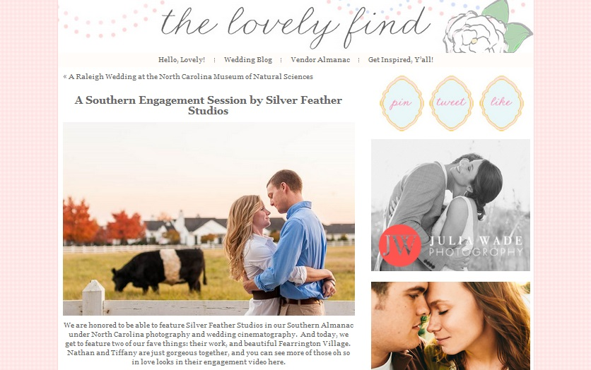Silver Feather Studios featured on The Lovely Find, a Southern Wedding Blog.