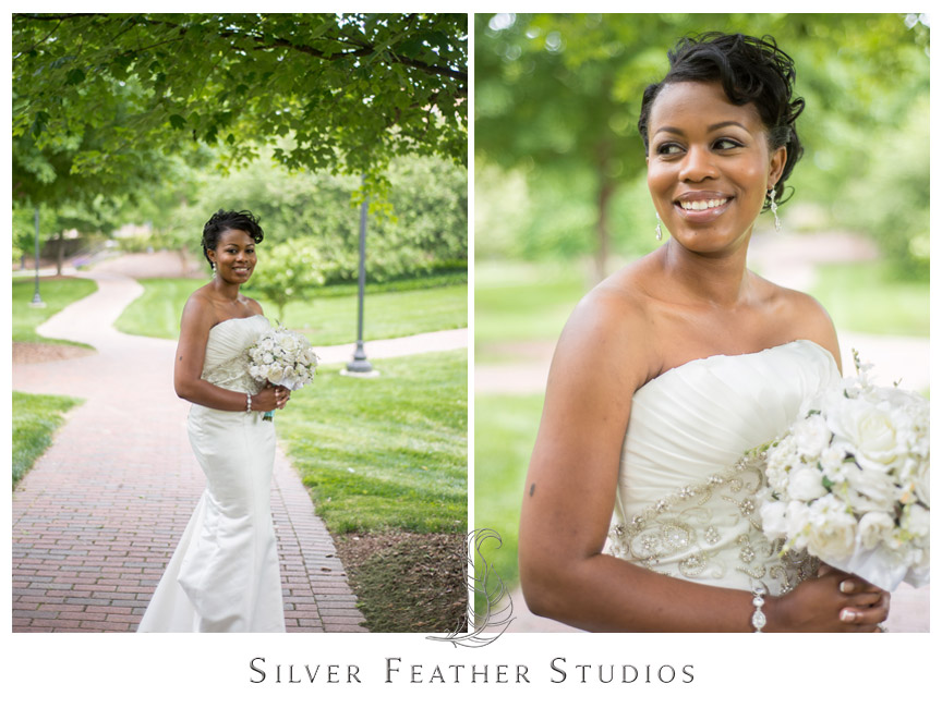 A gorgeous bride at UNC Greensboro. Photography by Silver Feather Studios.