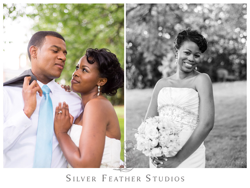 A gorgeous bride and handsome groom at UNC Greensboro. Photography by Silver Feather Studios.
