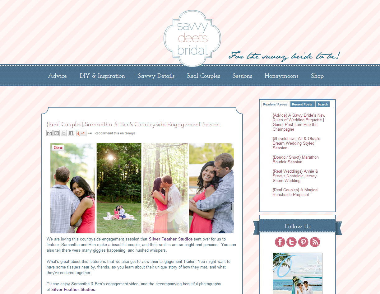Savvy Deets Bridal features Silver Feather Studios on their bridal blog.