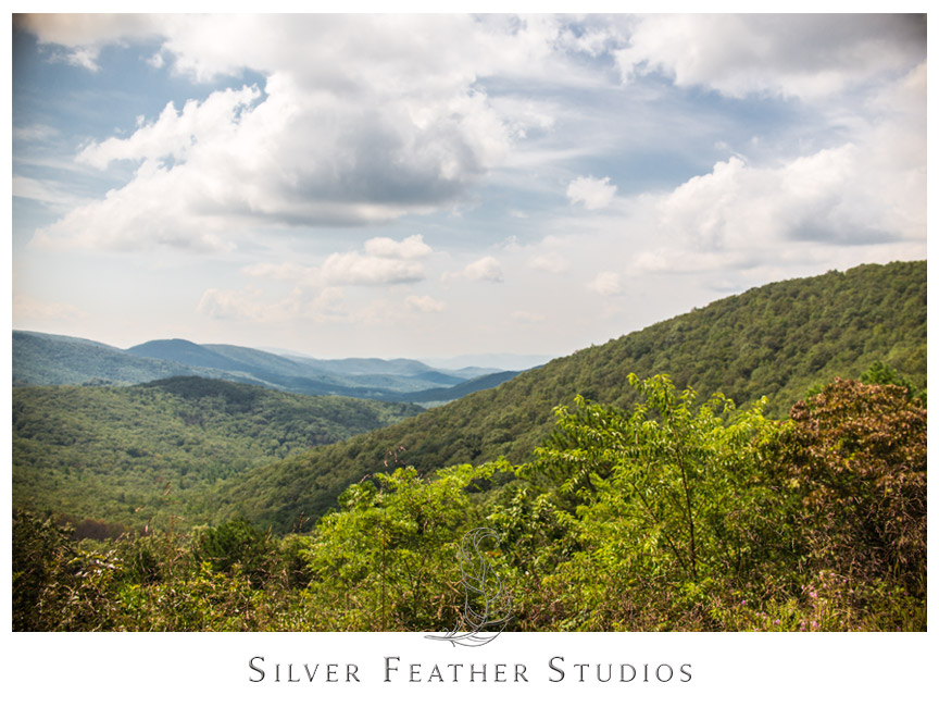 Gorgeous green mountains and a blue sky by Skyline Drive.