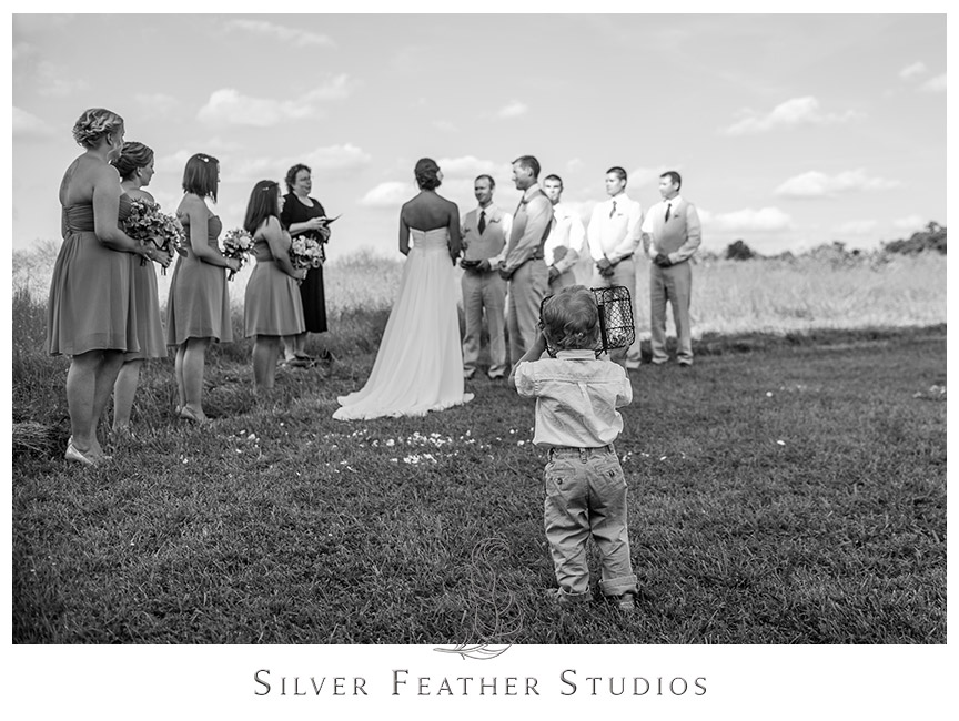 Blue, yellow, and beige wedding ceremony at Starlight Meadow in Burlington, NC  © Silver Feather Studios, Burlington, NC Wedding Photography