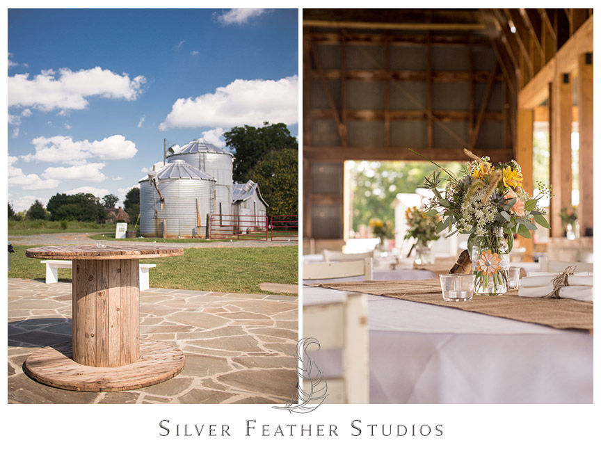 Open barn reception with silos and rustic decor in Burlington, North Carolina  © Silver Feather Studios, Burlington, NC Wedding Photography