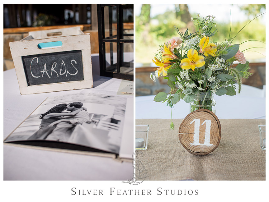 Rrustic card box with chalkboard front and yellow floral mason jar centerpieces with wooden table numbers.  © Silver Feather Studios, Burlington, NC Wedding Photography