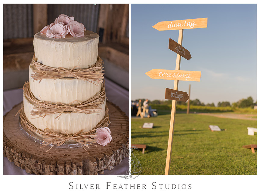 Pink and beige twine and rose wedding cake for this rustic barn wedding.   © Silver Feather Studios, Burlington, NC Wedding Photography