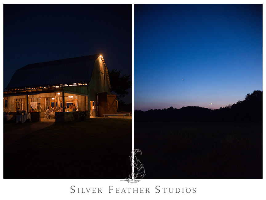 Night view of the stunning Starlight Meadow rustic barn venue in Burlington, NC.  First dance under the wooden beams of this rustic barn venue at Starlight Meadow.   © Silver Feather Studios, Burlington, NC Wedding Photography