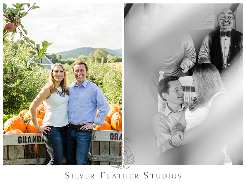Asheville engagement photography in the pumpkin patch at Granddad's Apple Orchard.   © Silver Feather Studios, North Carolina Wedding Photography & Videography