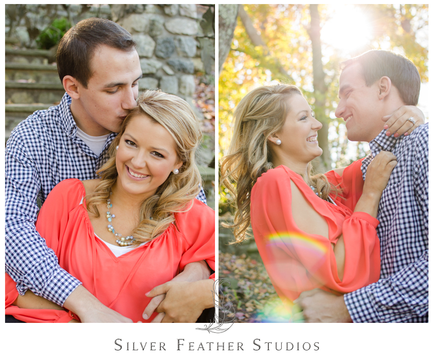 Gorgeous coral and blue engagement session in Bicentennial Garden, Greensboro, NC.    © Silver Feather Studios, North Carolina Wedding Video and Photography