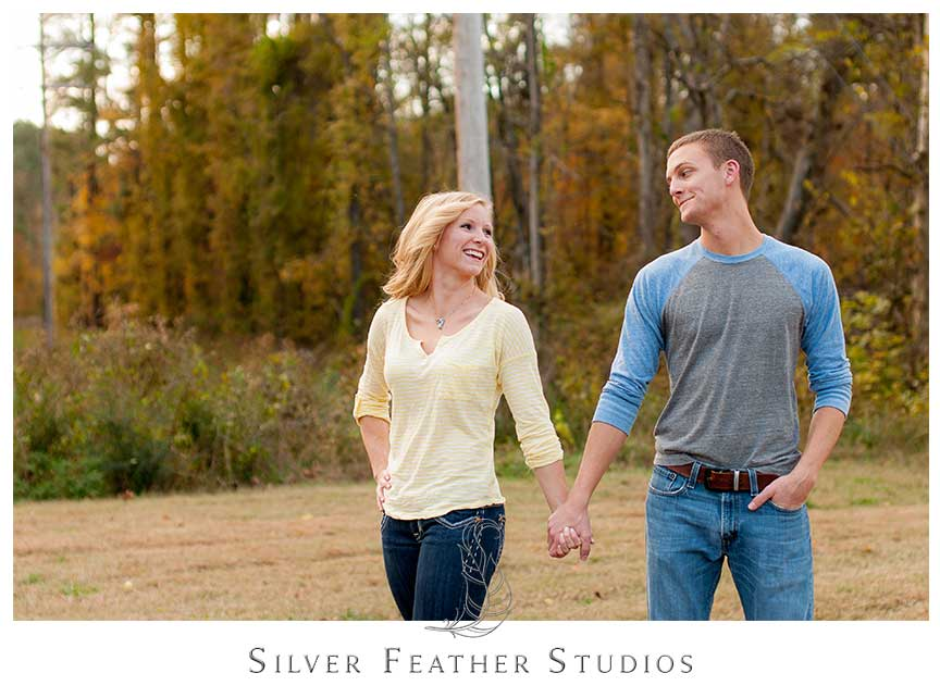 Fun and romantic autumn Chapel Hill engagement session.© Silver Feather Studios, Chapel Hill Wedding Photography and Videography