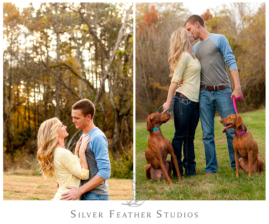 Fun and romantic autumn Chapel Hill engagement session. © Silver Feather Studios, Pittsboro Wedding Photography and Videography