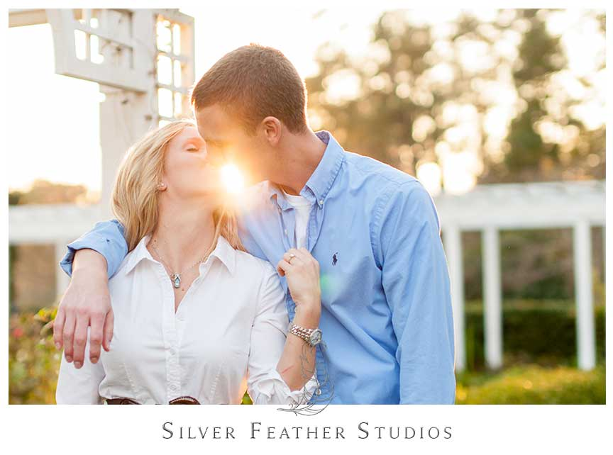 Beautiful sunset light at this Fearrington Village, engagement session Pittsboro, NC.© Silver Feather Studios, Pittsboro Wedding Photography and Videography