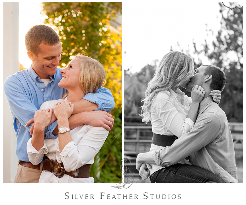 Sweet cuddling at this romantic autumn engagement session at Fearrington Village. © Silver Feather Studios, Pittsboro Wedding Photography and Videography