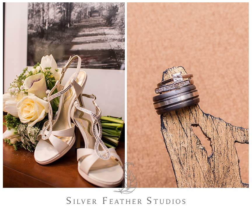 Bouquets, shoes and rings for the bride at this Bryan Park Golf Center Wedding.