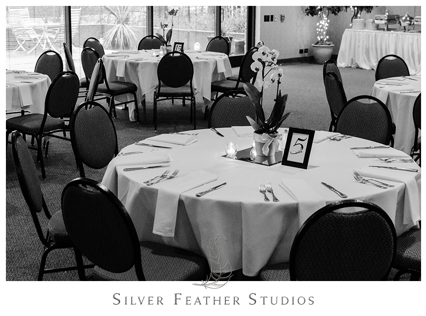 Bryan Park Golf Center Wedding reception featuring potted orchid centerpieces with candles.© Silver Feather Studios, Wedding Photography in Greensboro, North Carolina.