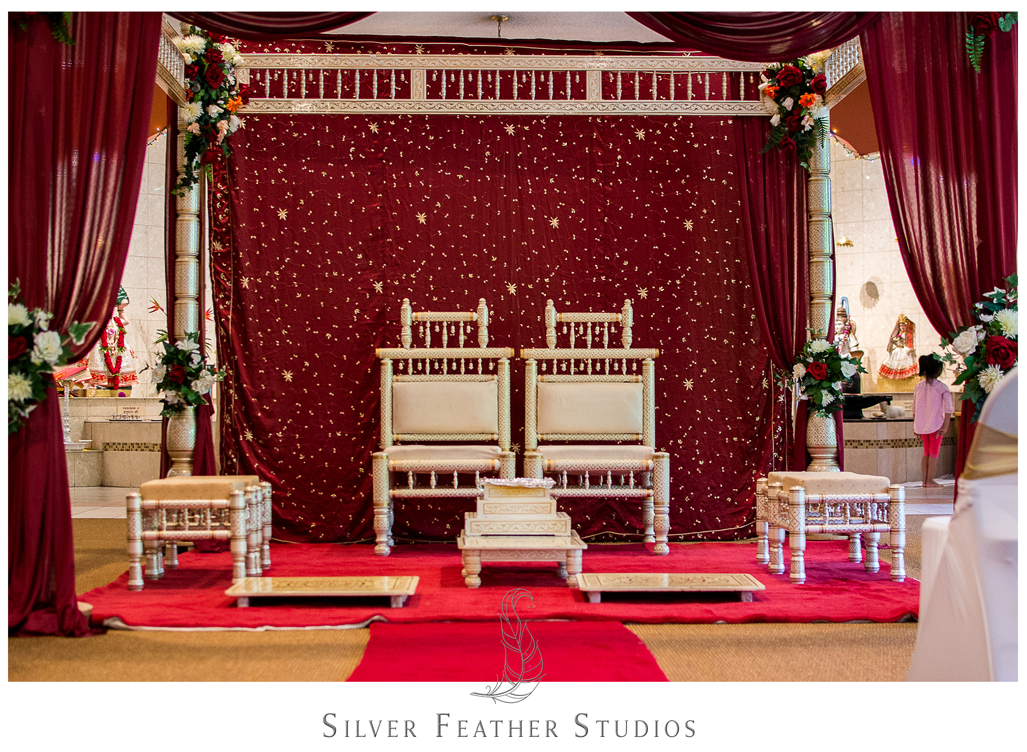 Red and gold theme Indian wedding, photographed by a Burlington, NC wedding photography and video company.