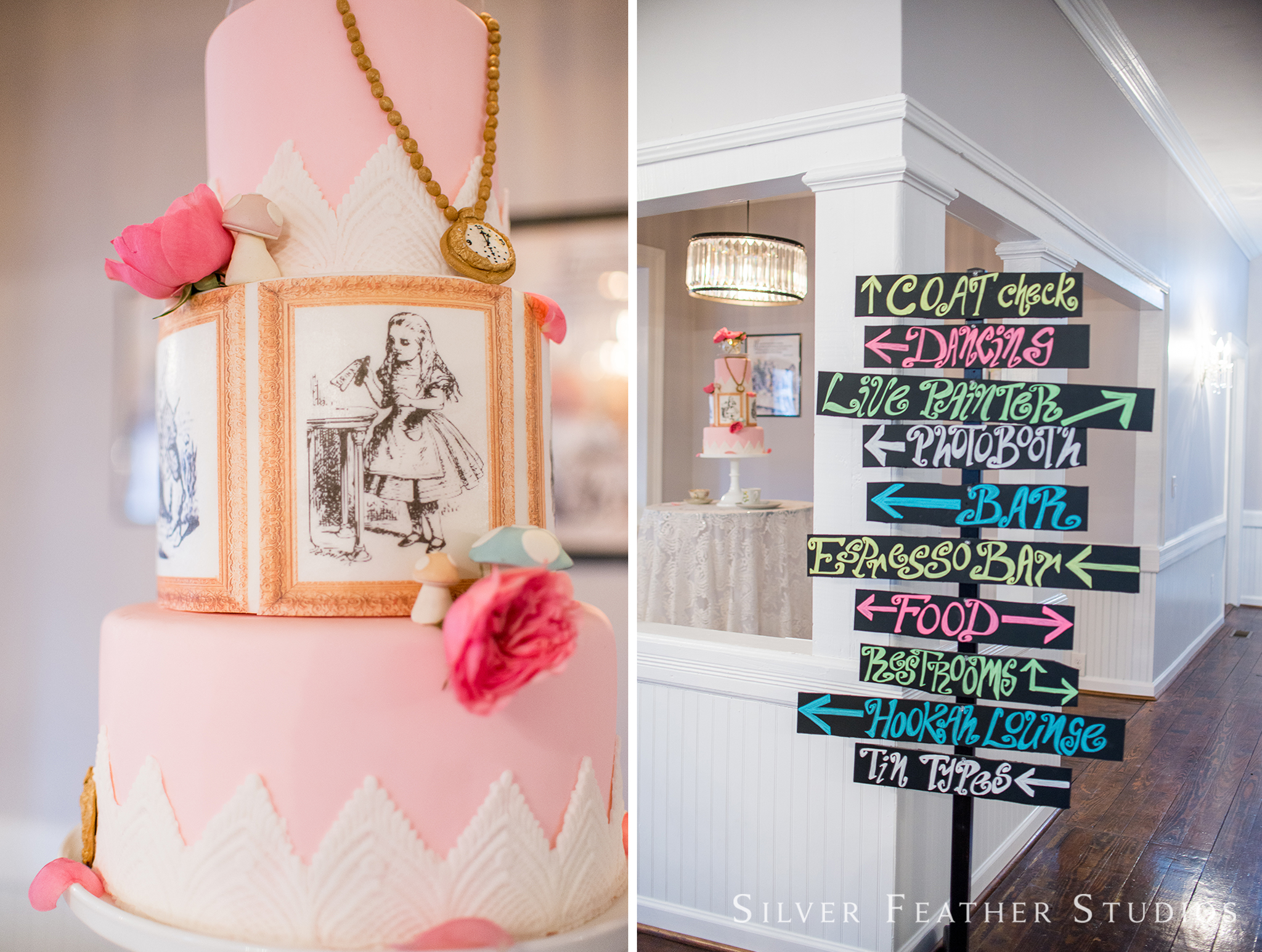 Pink Alice in Wonderland themed wedding cake, and chalkboard directional signs.