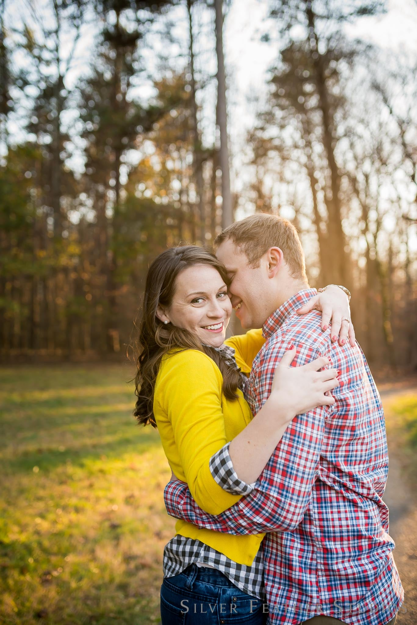 plaid and yellow outfits for this fall engagement session in greensboro. images by silver feather studios, burlington nc wedding photographer