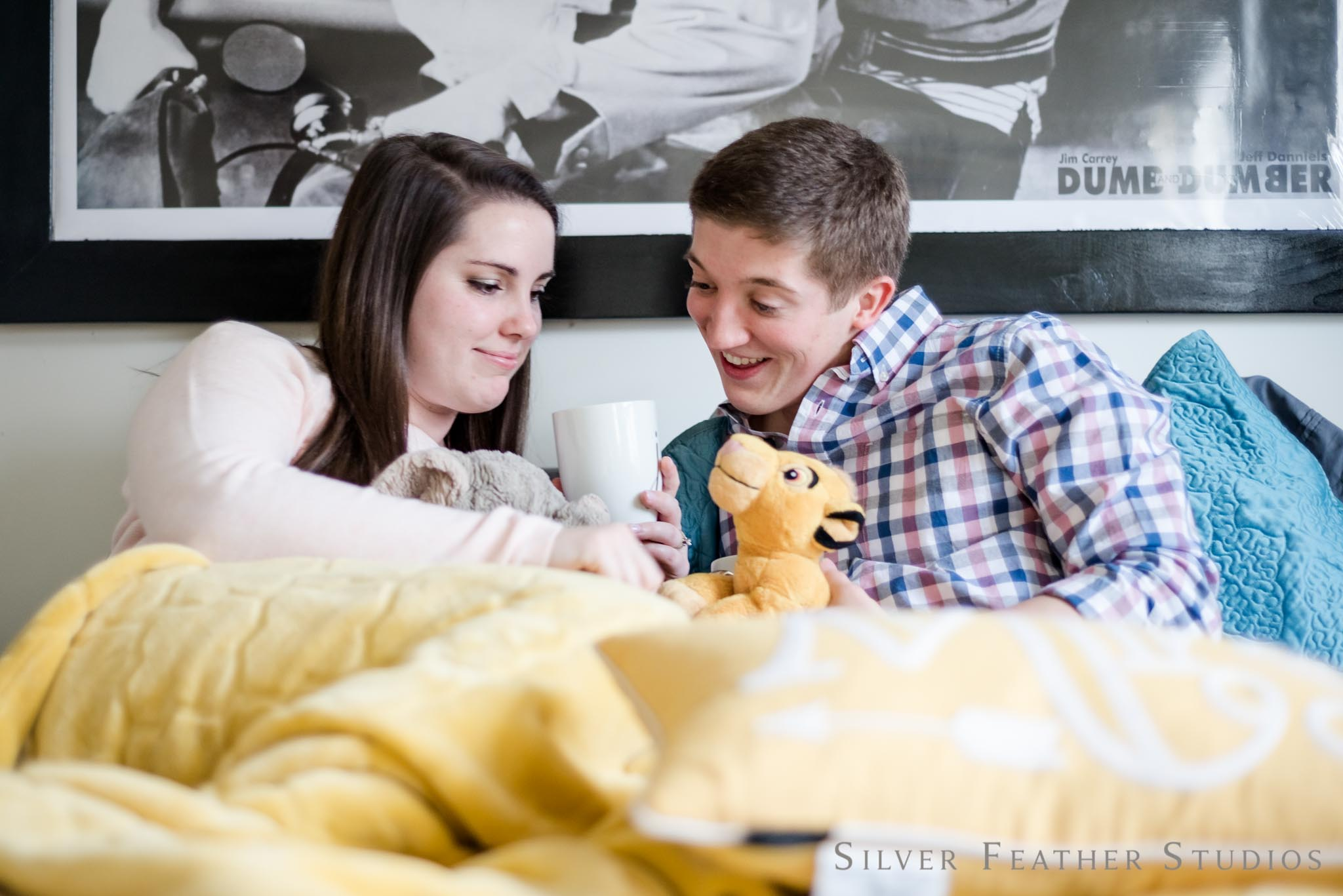 Kate and Stephen's home lifestyle engagement in Greensboro