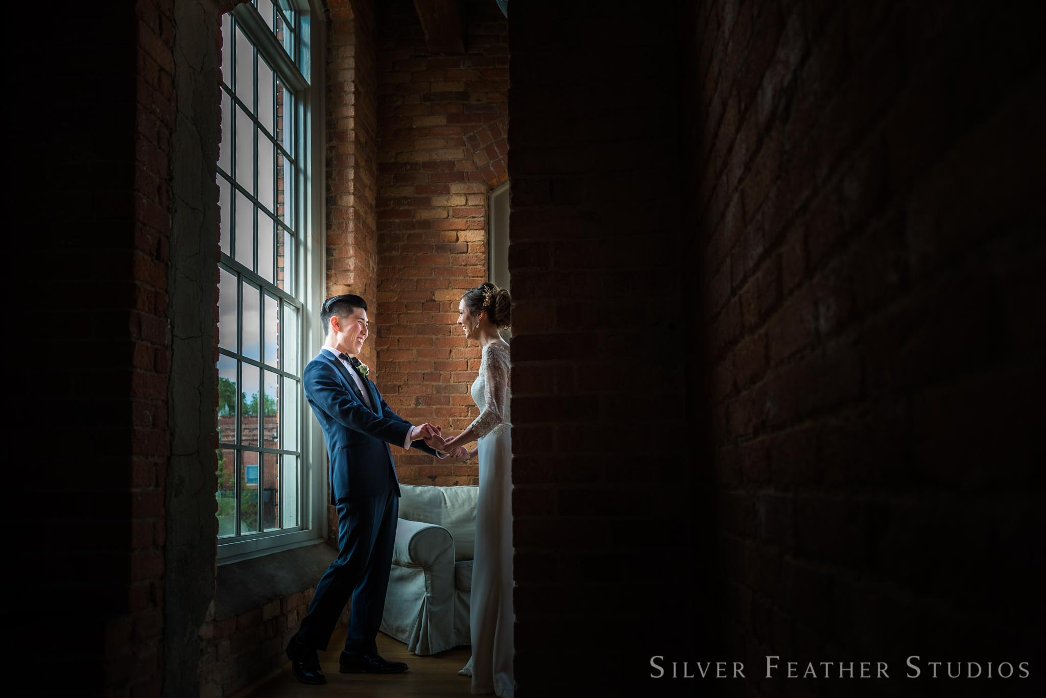First look at The Cotton Room between Anna & Jeremy. © Durham wedding photography by Silver Feather Studios