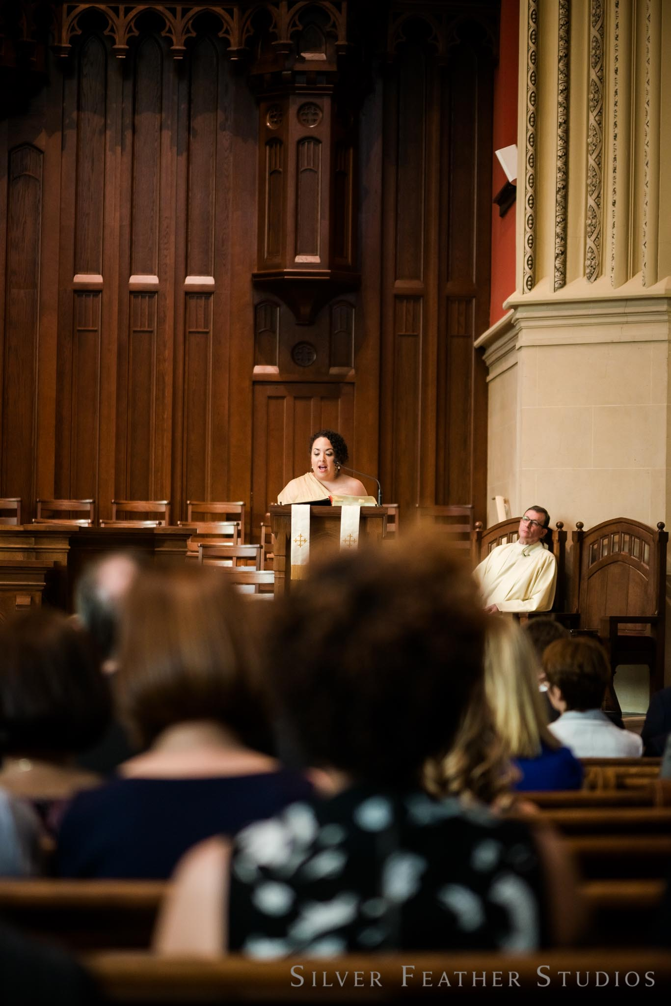 wedding ceremony at the First Presbyterian church in Durham, NC. © Silver Feather Studios