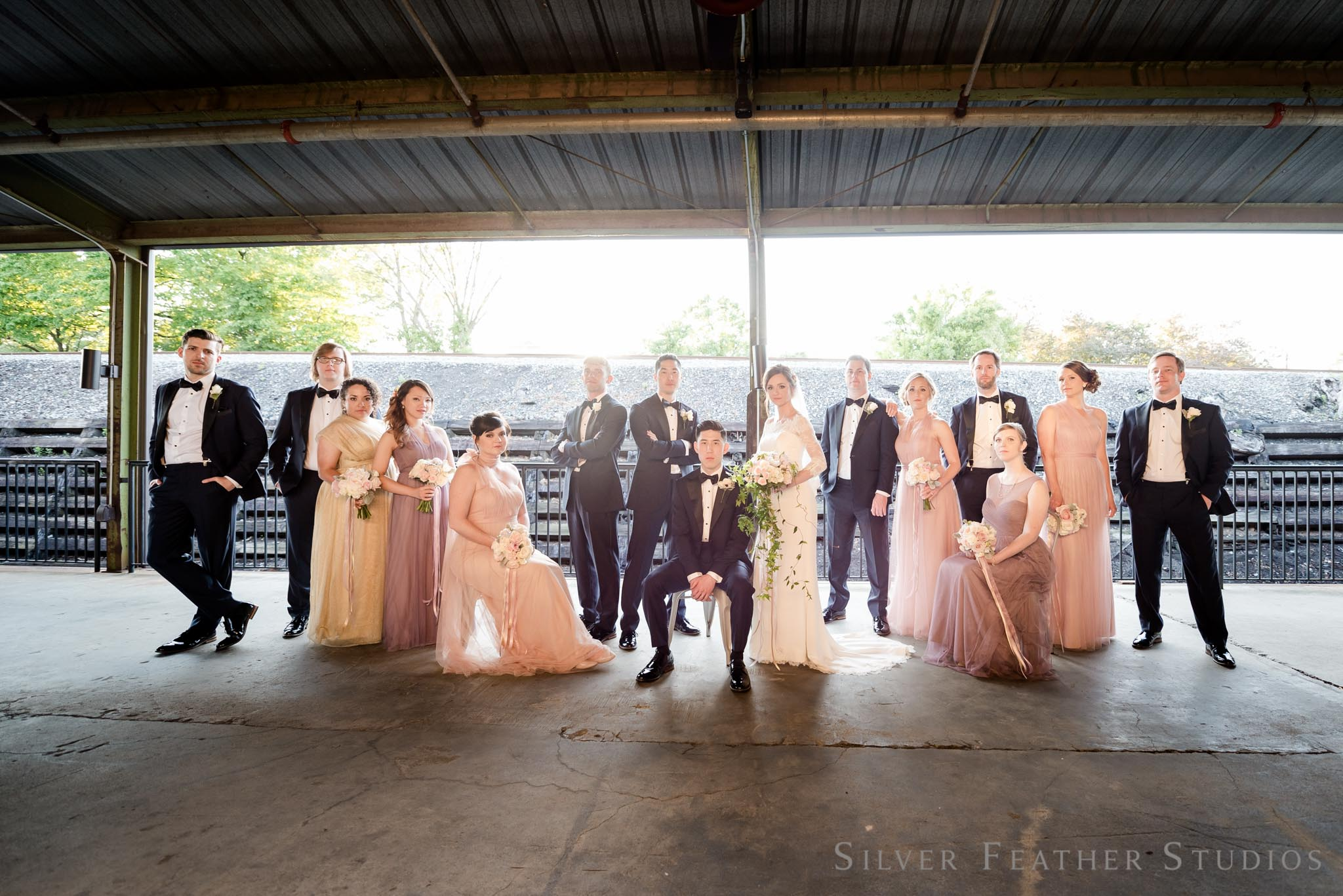 artistic and fun wedding photography at the cotton room © Silver Feather Studios, burlington nc wedding photographer