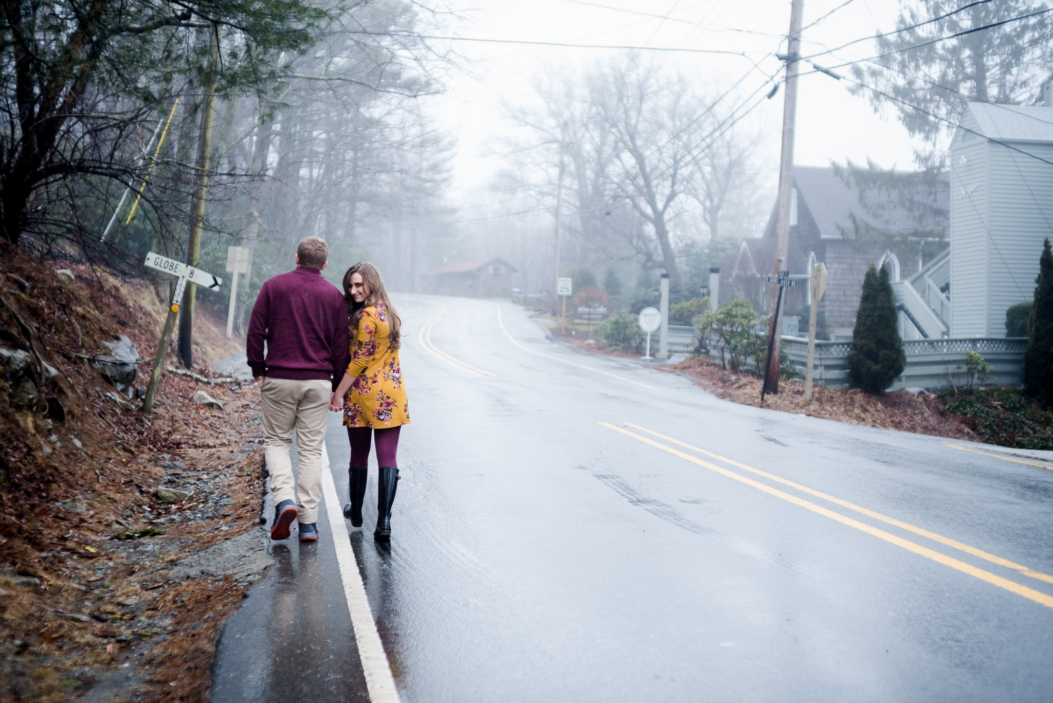 rainy day engagement session in blowing rock, north carolina