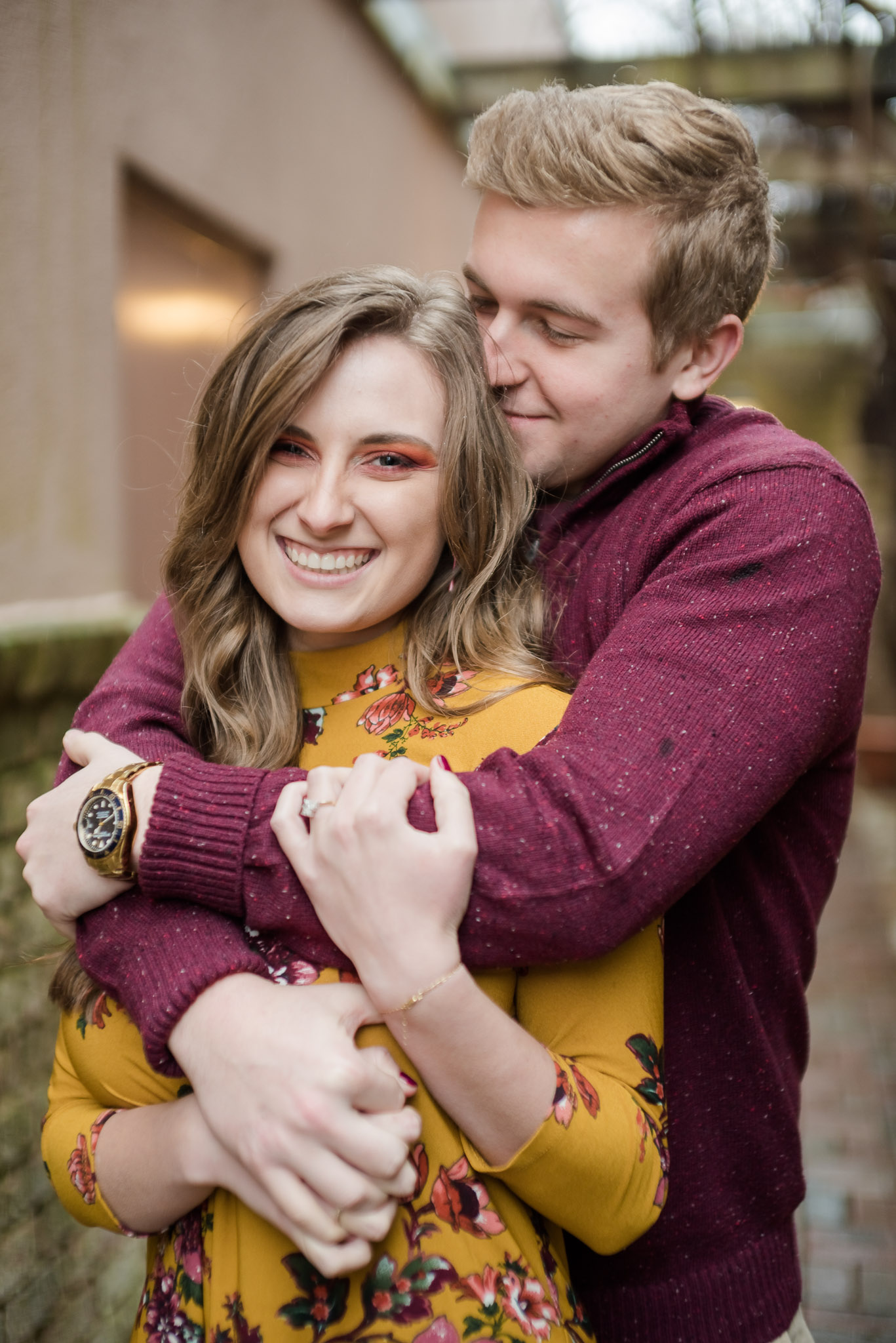 foggy blowing rock engagement session