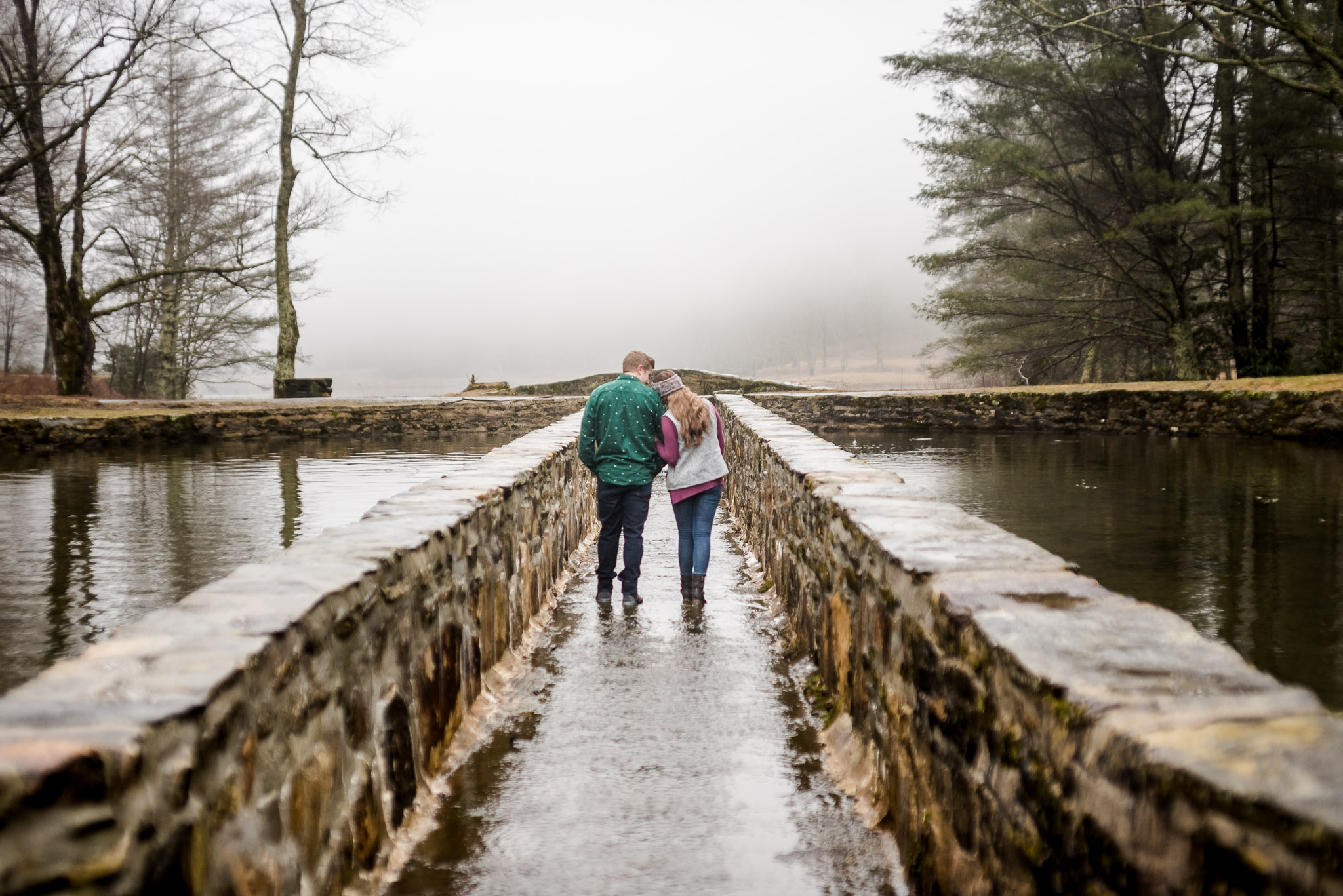 rainy day mountain engagement session in blowing rock