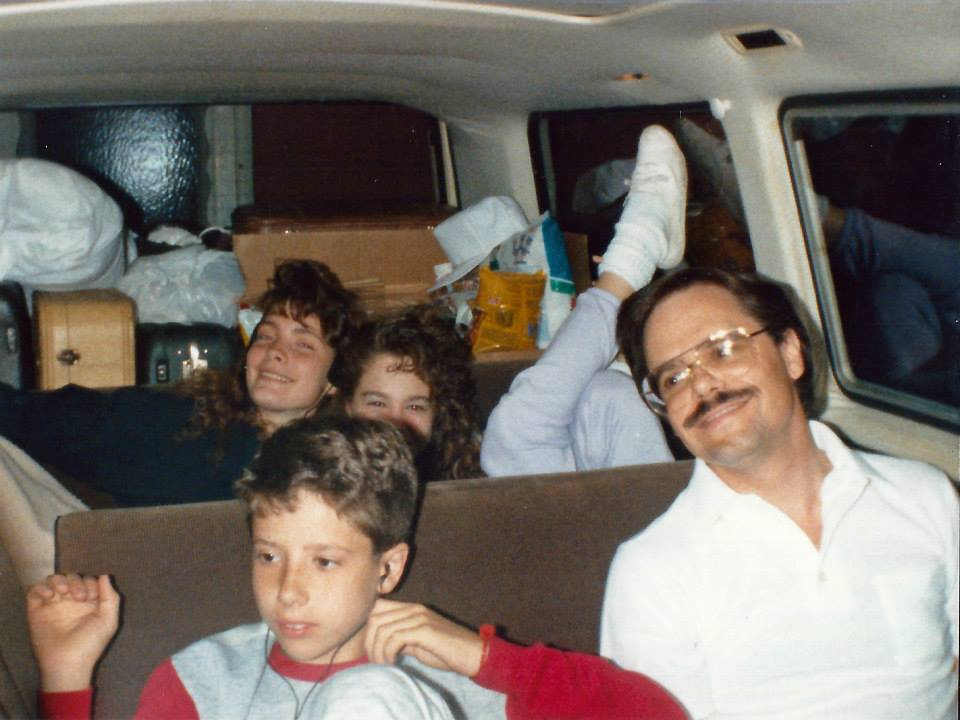 "my dad sitting with us in the back seat of our uber coll VANAGON!  i'm the girl with the ""hair"" on the right.  this was on our way to ocean city for vacation  thank you debbie mechling for sharing this photo!"