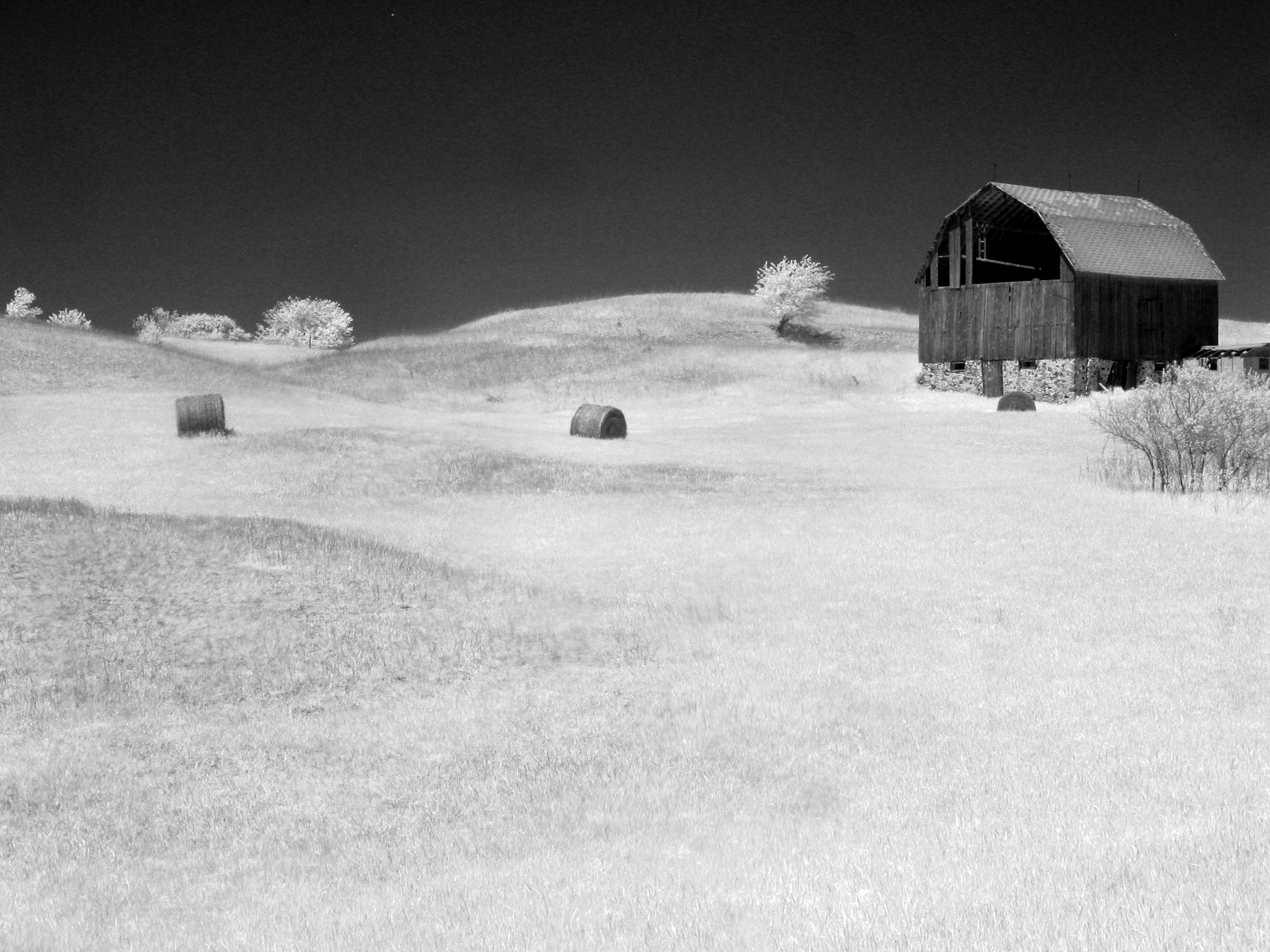 The Barn and Hay Bails