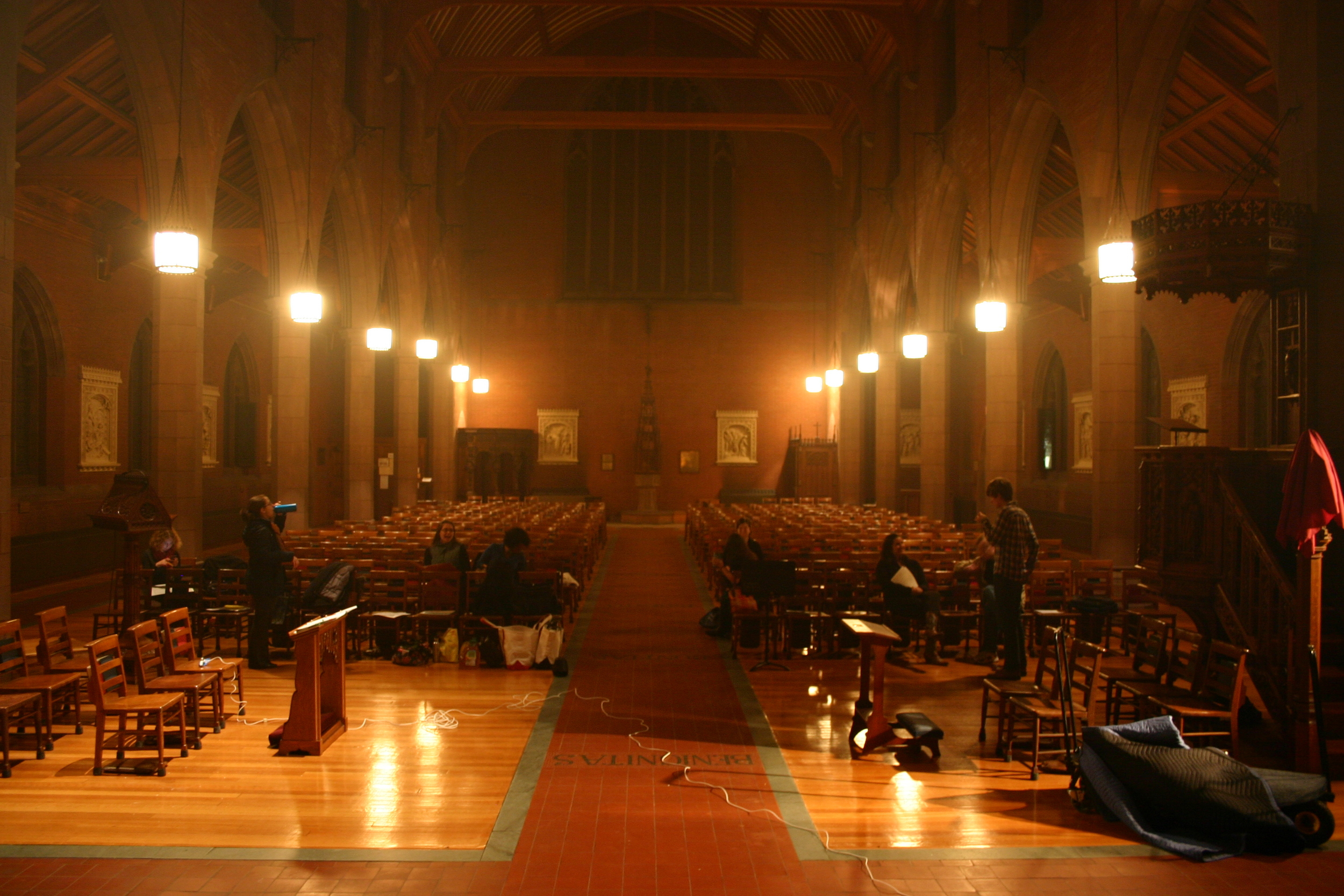 Setting up for recording in Christ Church, New Haven