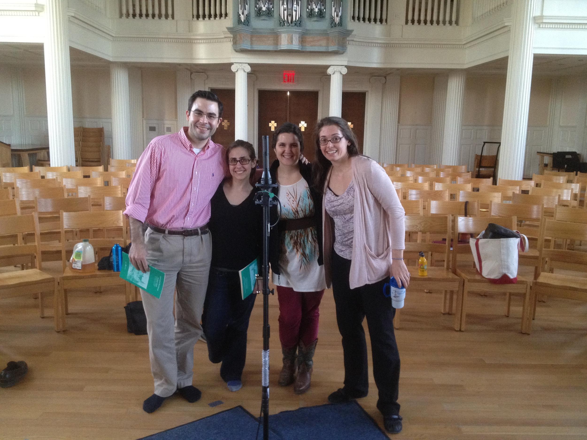 "Derek Greten-Harrison, Amanda Sidebottom, Estelí Gomez, and Heather Petrie wrap up recording Rheinberger's ""Sechs Gesänge"" in Marquand Chapel, Yale Divinity School"