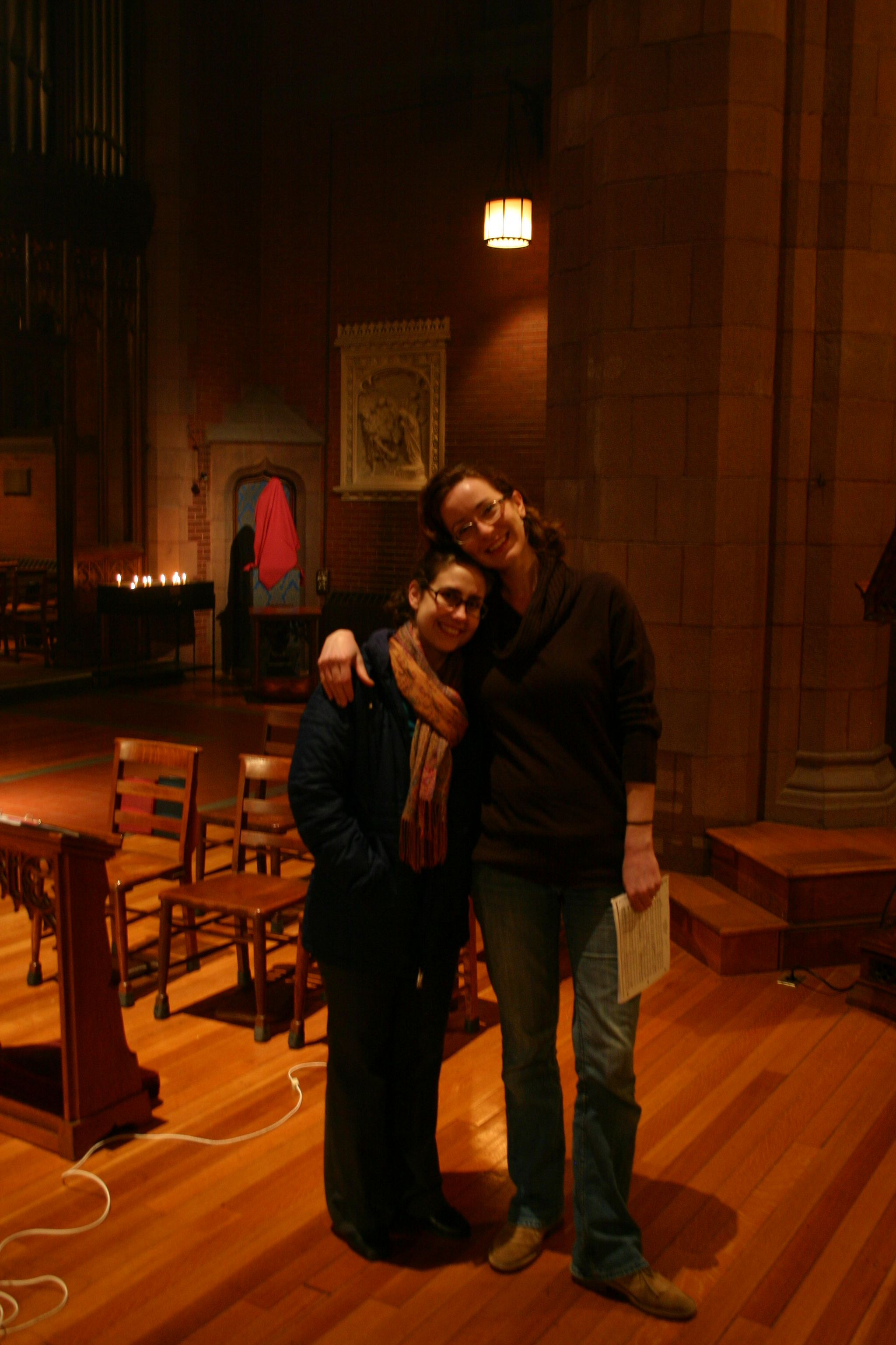 Amanda Sidebottom and Rebekah Westphal relax during a break in a late-night recording session at Christ Church, New Haven