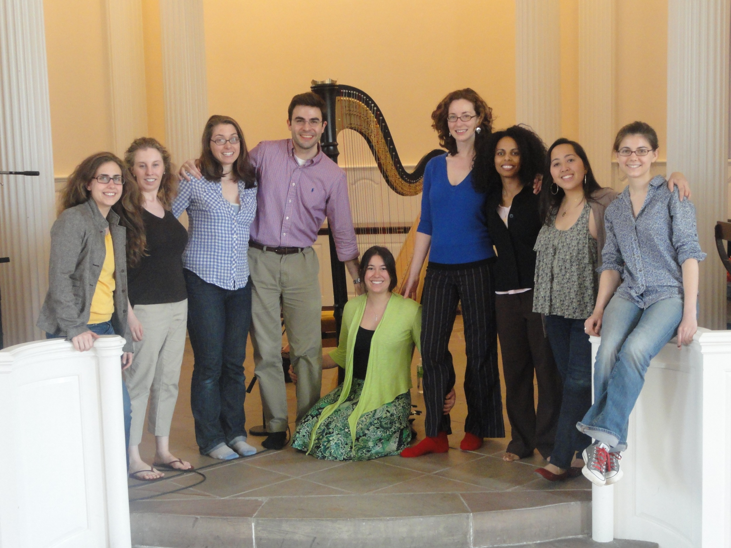 """Etherea after completing recording on """"Ceremony of Carols"""" in Marquand Chapel, Yale Divinity School"""