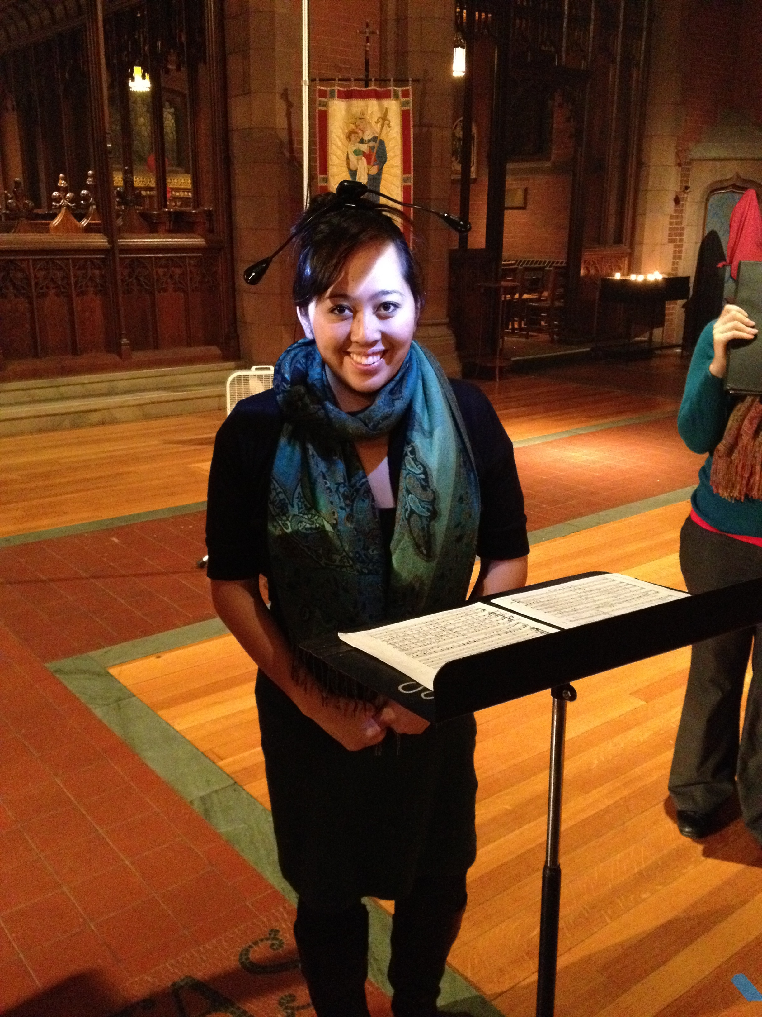 Arianne Abela sheds additional light on her music with some cleverly-placed music stand lights in Christ Church, New Haven