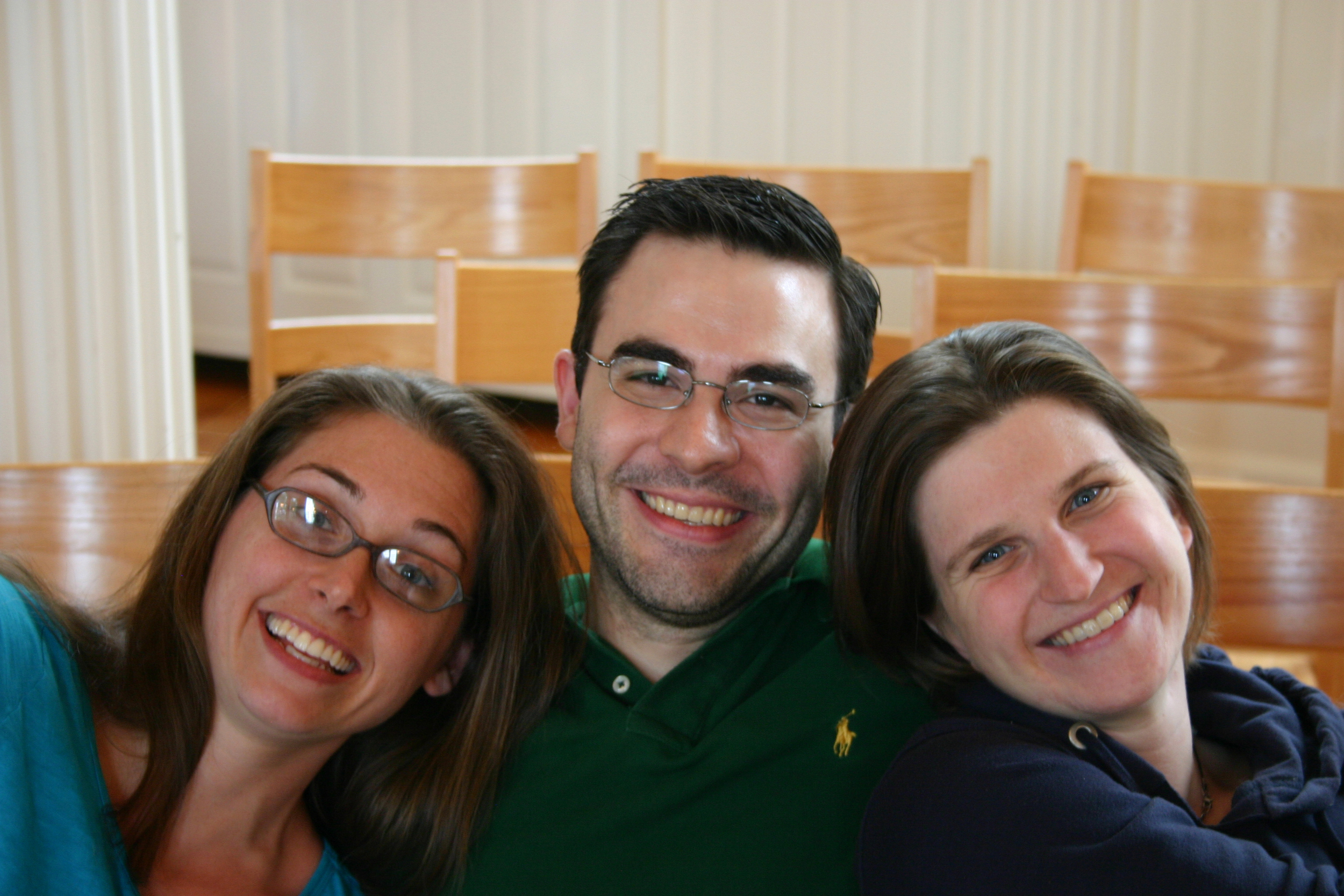 "Heather Petrie, Derek Greten-Harrison, and Jessica Petrus prepare to record Amy Beach's ""Three Shakespeare Choruses"" in Marquand Chapel, Yale Divinity School"