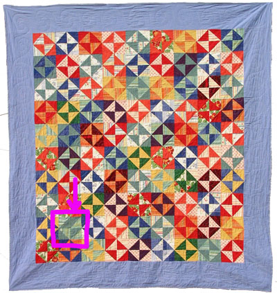 The pink box is around a humility block in a bed quilt I made years ago. See how the upper right quadrant is rotated 90 degrees and disrupts the pattern?The quilthas been in daily use since it was finished. No, the mistakewas not intentional. Yes, I chose to leave it when I was sewing blocks together. Ilike that it's there. Nobody has ever noticed.