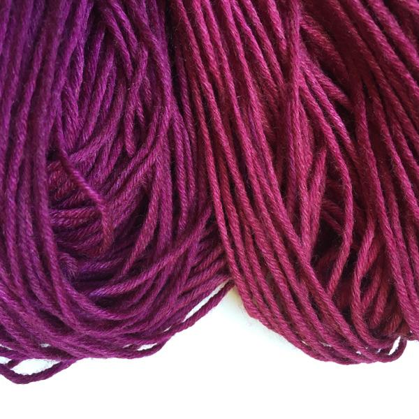 Pokeweed on wool/silk yarn, before washing.