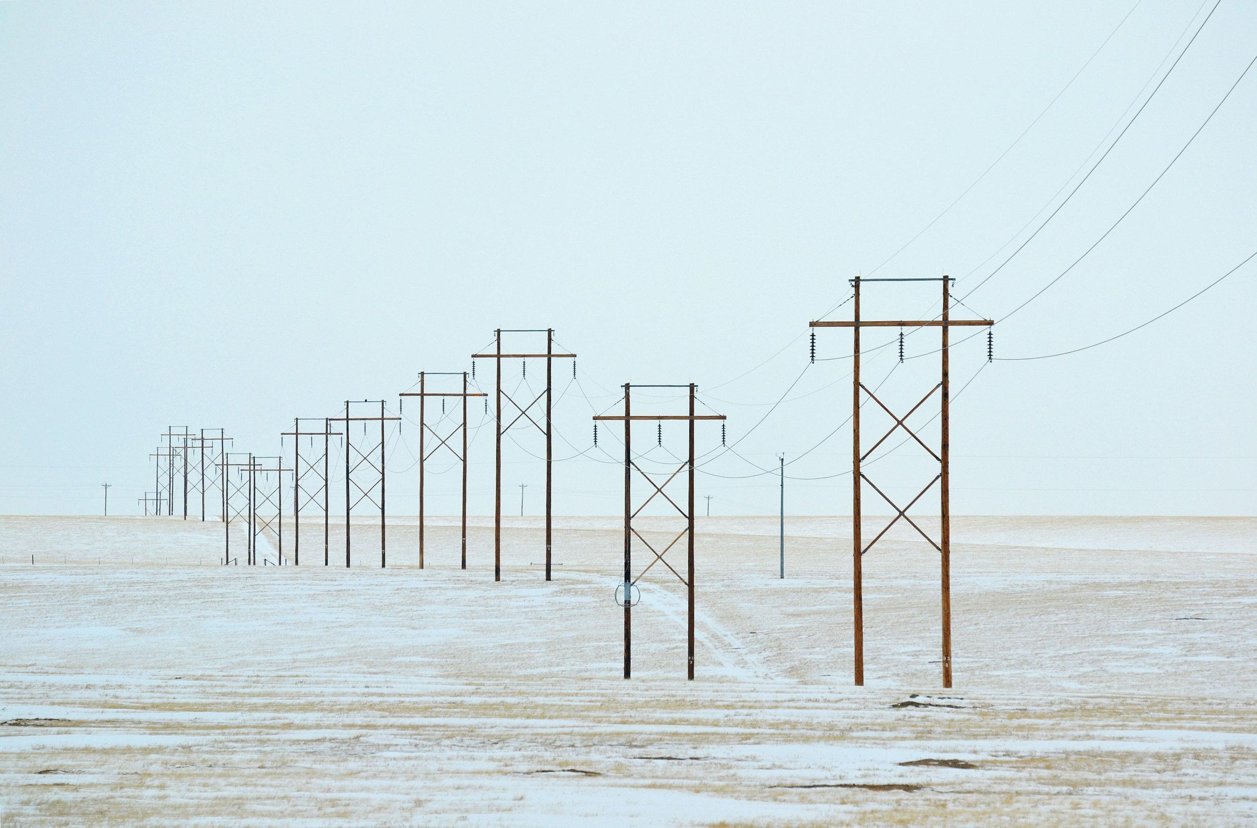 Power lines outside Laramie, Wyoming.