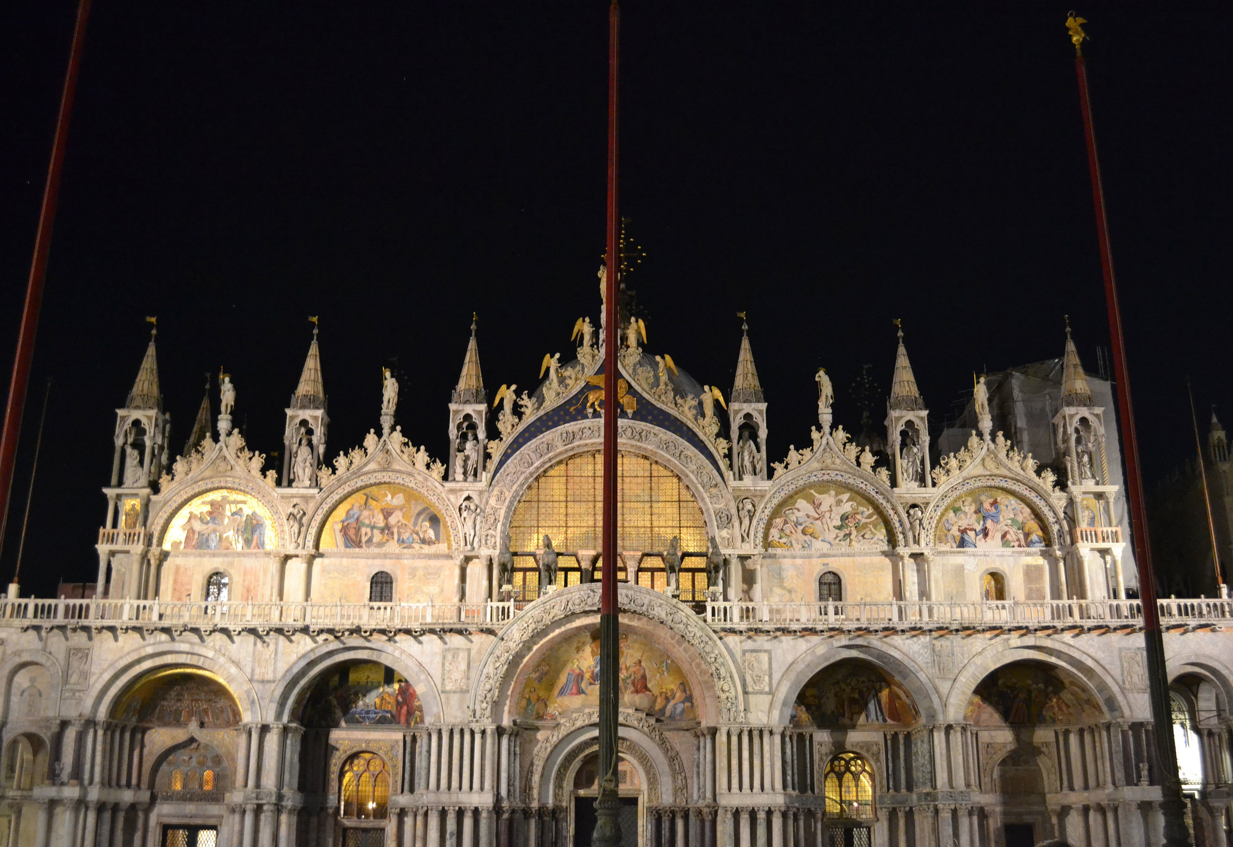 At night, the crowds in St. Mark's Square cleared out and we got to enjoy this beauty all lit up.