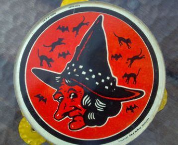 Vintage Witch Halloween Tambourine made in the USA by KIRCHHOF w/ bats