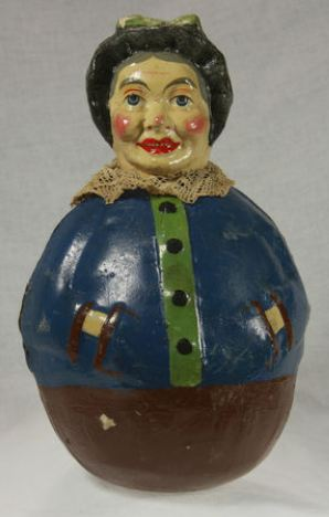Vintage German Paper Mache Halloween Witch Roly Poly c1920