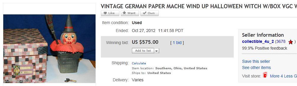 VINTAGE GERMAN PAPER MACHE WIND UP HALLOWEEN WITCH W/BOX