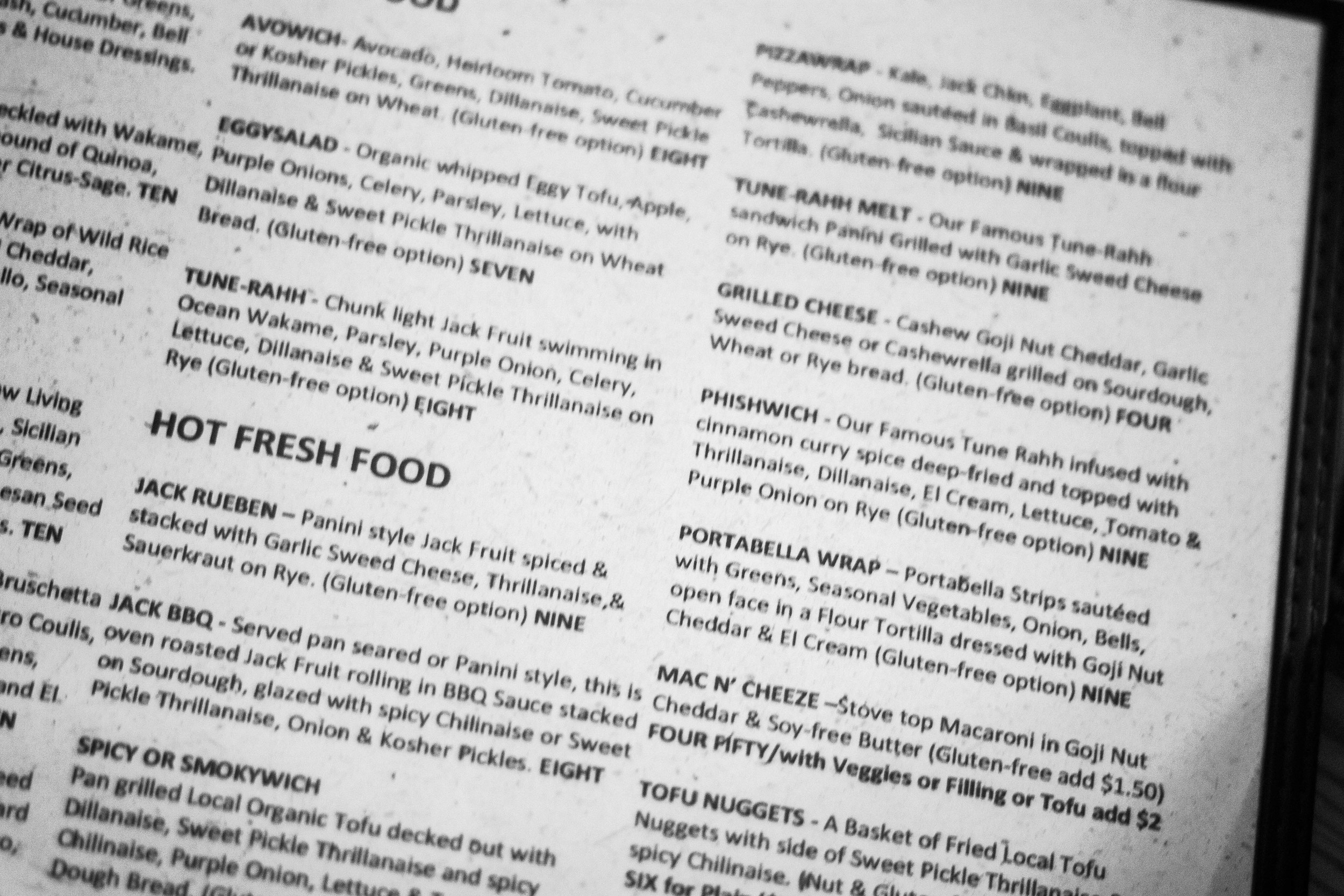 Some  of FUD's non-traditional vegan menu items