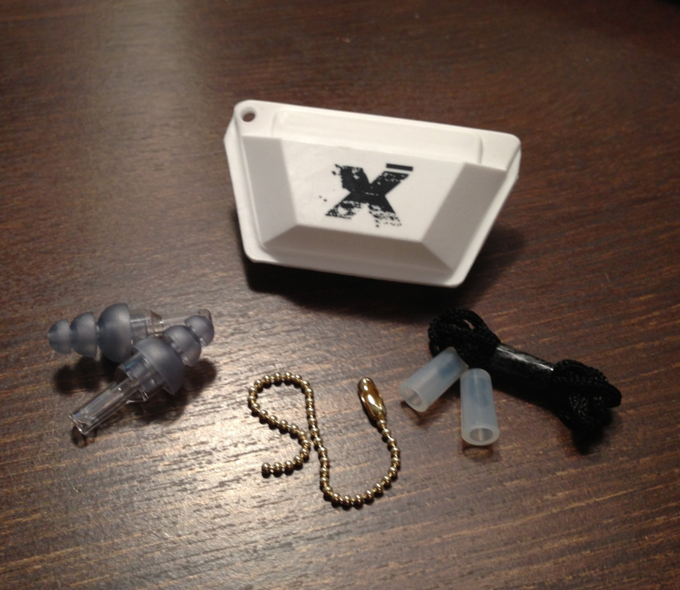 ETY•Plugs®come with a Rhythm X case, a key chain, a neck cord and two high-fidelity earplugs.