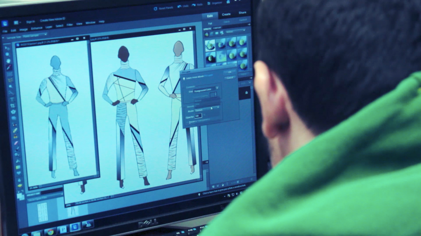 Uniform designer Byron Valentine completes sketch of uniform, and defines each element of the uniform that must be produced to create the final product.
