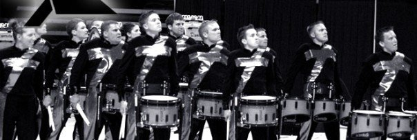 Jeff Brooks (foreground) performs in the Rhythm X snare line.