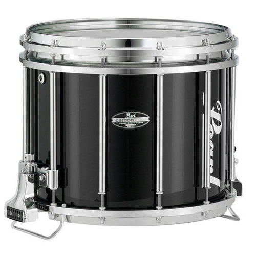 Grand Prize: Pearl CarbonCore marching snare drum with black finish and chrome hardware.