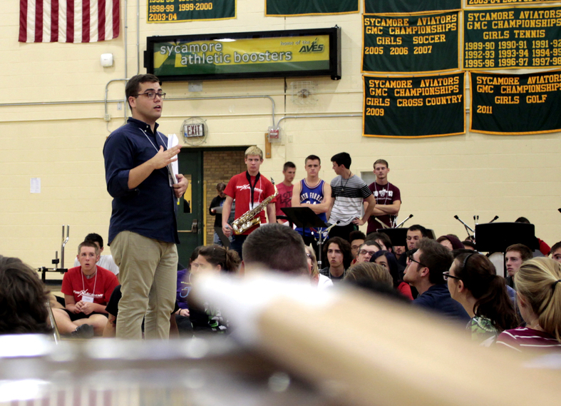 Mike Scott, former CEO, addressing the 2015 Percussion and Winds ensembles. It was the inagural year for WGI Winds.